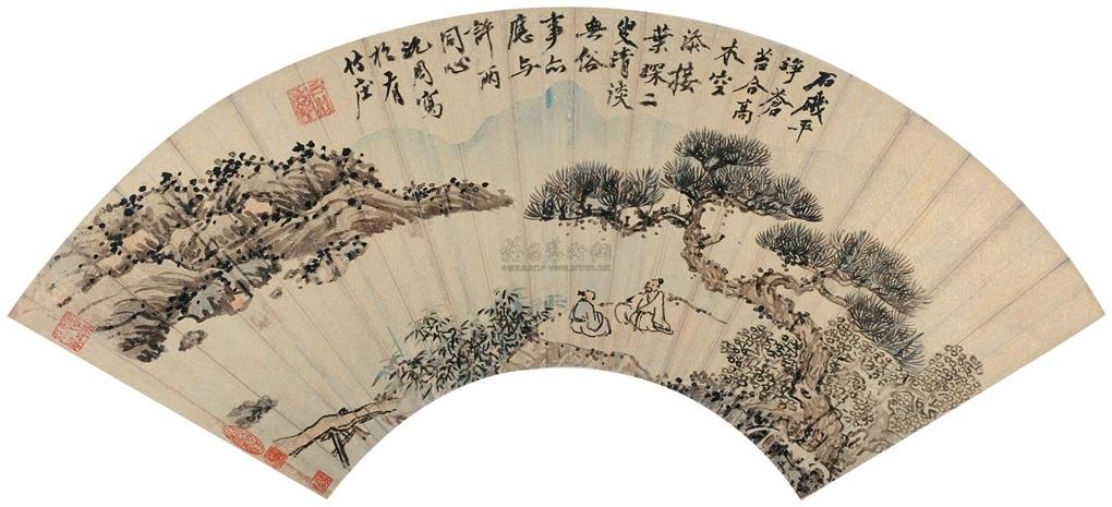 松溪对语 landscape by shen zhou