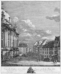 vue de l'eglise de notre dame, et de la rue dite ... (ansicht der frauenkirche in dresden) by bernardo bellotto