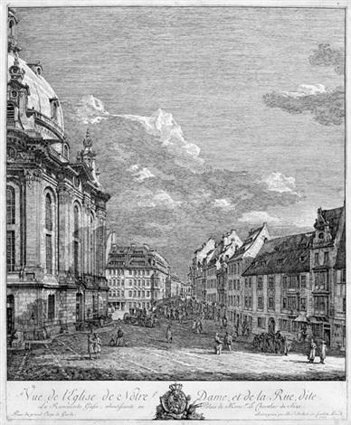 vue de leglise de notre dame et de la rue dite ansicht der frauenkirche in dresden by bernardo bellotto