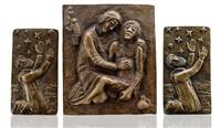 3 reliefs: religiöse szenen by kurt lehmann