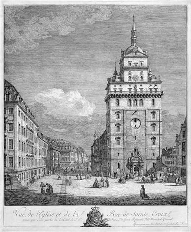 vue de leglise et de la rue de sainte croix ansicht der kreuzkirche in dresden by bernardo bellotto