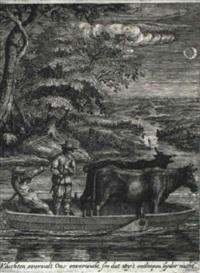 der lastkahn mit den zwei kühen bei mondschein by hendrik hondius the younger