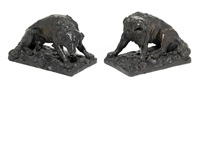 dogs (pair) by alfred barye