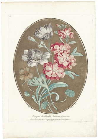 bouquet de giroflée anémone capucine after carle by louis marin bonnet