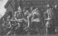 der verwundete paris wird nach troja getragen by girolamo fagivoli