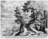 die landschaft mit dem tod und amor (after mathys bril) by jan sadeler i