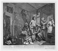 a rake's progress (portfolio of 8) by william hogarth
