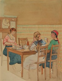 three young women drinking tea by louis soonius
