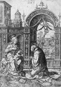 der heilige bernhard vor der madonna mit dem kinde kniend by dirk jacobsz vellert
