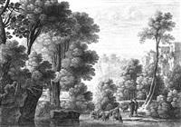 südliche landschaften mit anglern und hirten (4 works) by gabriel perelle