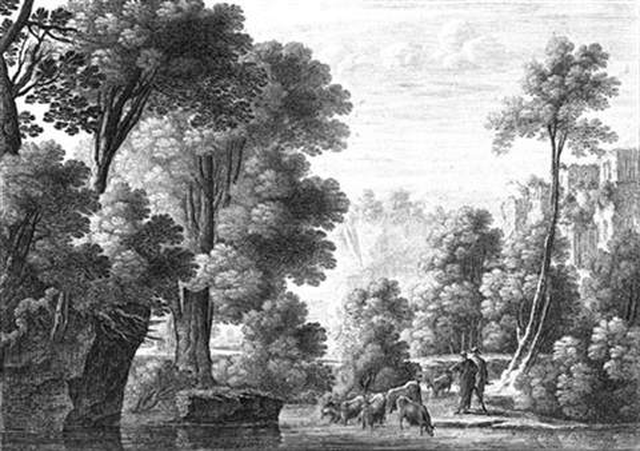 südliche landschaften mit anglern und hirten 4 works by gabriel perelle
