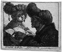 orientale, einer jungen frau aus einem buch vorlesend by johann jakob dorner the elder