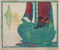 junges paar in einem segelboot bei untergehender sonne by ernst odefey