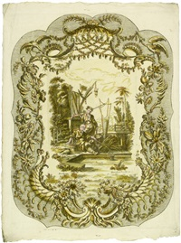 ornamentkartouchen mit chinesischen genreszenen (6 works after françois boucher) by martin engelbrecht