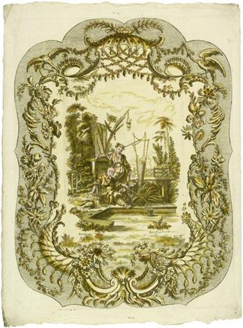 ornamentkartouchen mit chinesischen genreszenen 6 works after françois boucher by martin engelbrecht