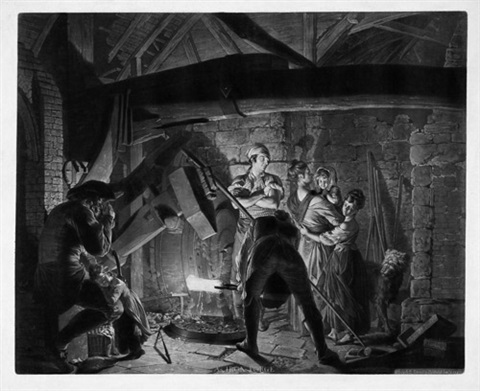 der eisenhammer an iron forge after joseph wright of derby by richard earlom