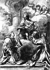 rosenkranzmadonna mit dem hl. dominikus und der hl. katharina von siena by pietro locatelli