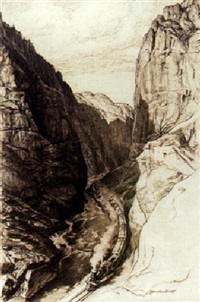 train going through a colorado canyon by warren chase merritt