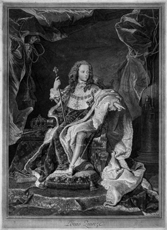 louis quinze after hyacinthe rigaud by pierre drevet
