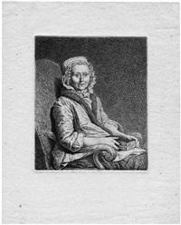 die mutter des künstlers (elisabeth benigna, geb. schmid), sitzend, in den händen ein buch by johann gottlieb glume