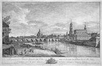 perspective du pont de dresde sur l'elbe, tirée de la veuë du palais de s. m by bernardo bellotto