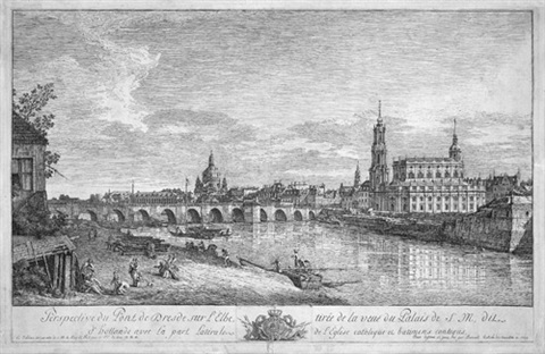 perspective du pont de dresde sur lelbe tirée de la veuë du palais de s m by bernardo bellotto