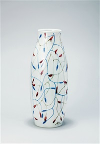 点线环绕 釉下彩 (points and lines, a vase) by bai ming