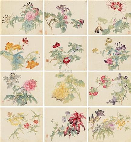 花卉画册 flowers album w12 works by tang shishu