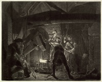 an iron forge - der eisenhammer (after joseph wright of derby) by richard earlom