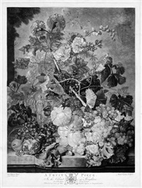 a fruit piece; a flower piece (2 works) (after jan van huysum) by richard earlom
