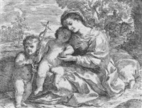 die hl. familie mit johannes d. täufer by andrea camassei