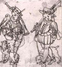 zwei falkner vor der jagd by daniel lindtmayer the younger