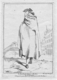 le marchand allant à rialto ou le tabarro (from divers portraits gravés à l'eau-forte...) by giovanni david