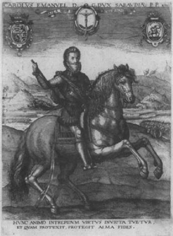 reiterbildnis des herzogs carlo emanuele i von savoyen by johann nikolaus hogenberg