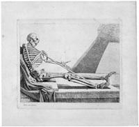 squelette de fantaisie (sitzendes skelett, mit der rechten einen stab haltend) by jacques gamelin