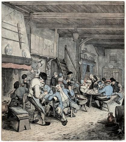 la tabagie hollandaise rauchende bauern in einer schänke after adrian van ostade by jean françois janinet