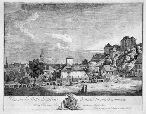 vue de la pirne devant la porte nomméeoberthor avec la forteresse de sonnenstein by bernardo bellotto