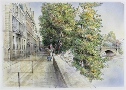 seineufer in paris notre dame pencil verso by h rolf rafflewski
