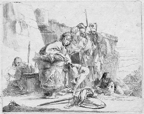 giovane seduteo e appoggiato su un vaso sitzender knabe sich auf eine vase stützend pl1 from capricci by giovanni battista tiepolo