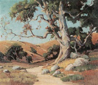trees in a landscape by john maitland reinhard