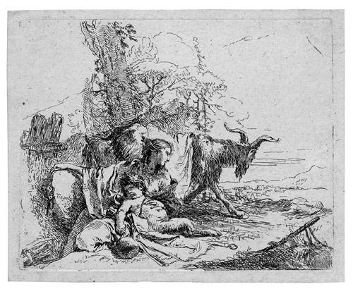 ninfa con un piccolo satiro nymphe mit kleinem satyr und zwei ziegen from capricci by giovanni battista tiepolo