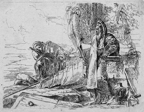 filosofo in piedi con gran libro der stehende philosoph mit dem großem buch und zwei weitere figuren from capricci by giovanni battista tiepolo