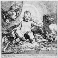 das christuskind in der krippe, umgeben von zwei engeln und dem johannesknaben (after carlo maratta) by jacob frey