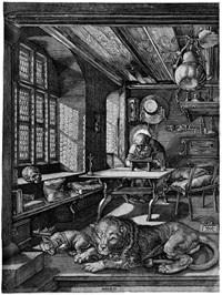 der hl. hieronymus im gehäus (after albrecht dürer) by hieronymus wierix
