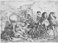 antiochus stürtzt vom wagen; antiochus diktiert seinen letzten willen (tod des antiochus) (2 works) by noel halle