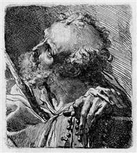 büste eines heiligen mit stock und rosenkranz, nach oben blickend (after oben blickend) by gaetano gandolfi