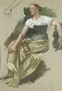 studie einer sitzenden jungen frau mit detail des rechten arms oben links by wilhelm trübner