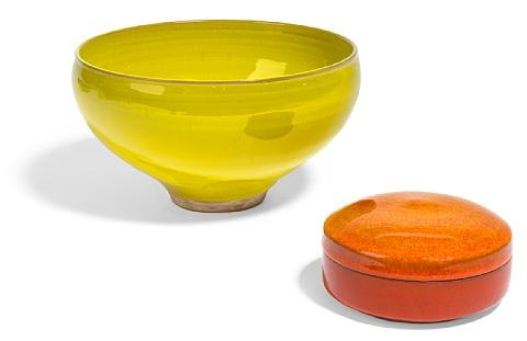 footed bowl and circular box set of 2 by laura andreson