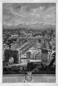aspetto della città leonina: blick auf die engelsbrücke mit der engelsburg, im hintergrund der petersdom und der vatikan by giuseppe vasi