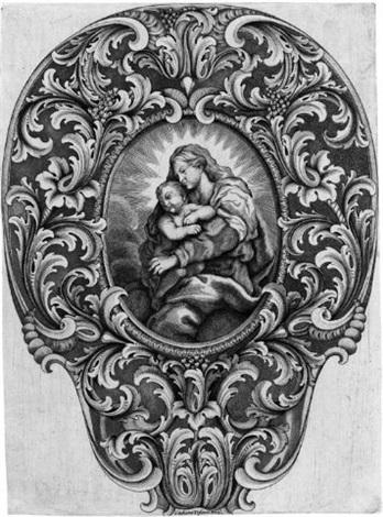 die madonna mit kind in einem breiten ornamentalen rahmen mit akanthusblättern by giuliano tofani